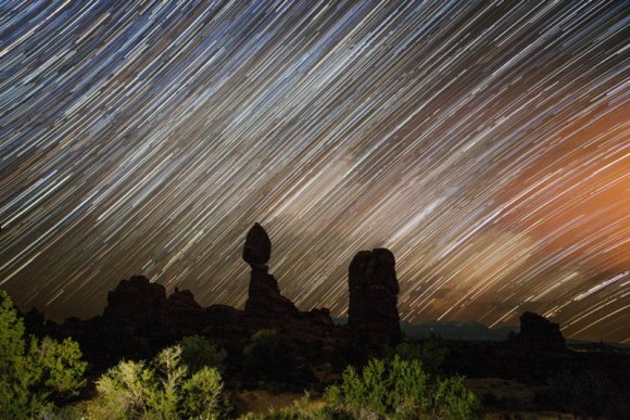 Star trails at Balanced Rock in the Arches National Park in Utah on May 30, 2014. Credit and copyright: César Cantu.