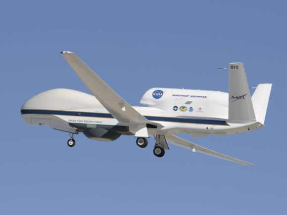 A member of NASA's Global Hawk fleet takes to the air. Credit: NASA/Armstrong Spaceflight Research Center.