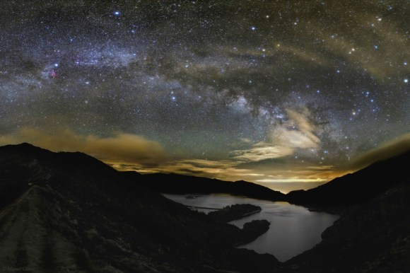 The Milky Way over the Lake of Fire, 'Lagoa do Fogo' on the island São Miguel in the Azores in Portugal. Credit and copyright: Miguel Claro.