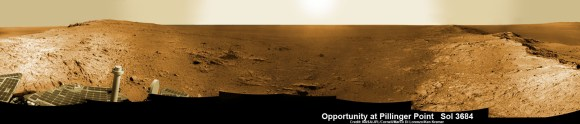 Opportunity Mars rover peers into vast Endeavour Crater from Pillinger Point mountain ridge named in honor of Colin Pillinger, the Principal Investigator for the British Beagle 2 lander built to search for life on Mars. Pillinger passed away from a brain hemorrhage on May 7, 2014.  This navcam camera photo mosaic was assembled from images taken on June 5, 2014 (Sol 3684) and colorized.  Credit: NASA/JPL/Cornell/Marco Di Lorenzo/Ken Kremer-kenkremer.com