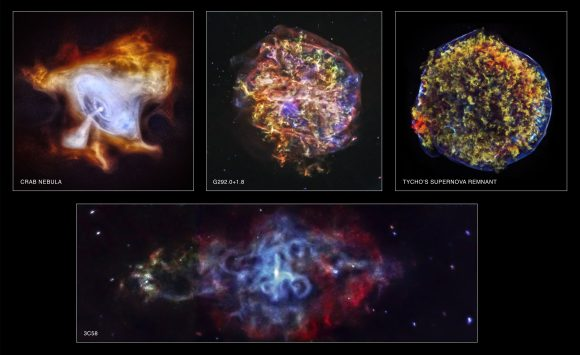 A collection of images from the Chandra X-Ray Observatory marking its 15th anniversary in space. Top, from left: the crab Nebula, supernova remnant G292.0+1.8 and the Crab Nebula. At bottom, supernova remnant 3C58. Credit: NASA/CXC/SAO