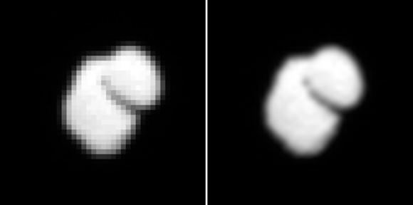 Raw pixelated image of the comet (left) and after smoothing. Credit: ESA