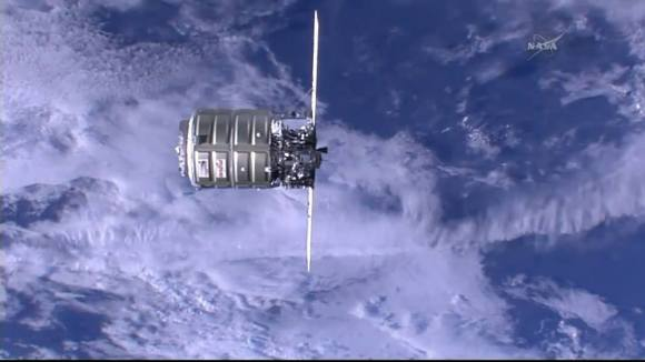 Orbital Sciences' Cygnus cargo craft approaches the ISS on July 16, 2014 prior to Canadarm2  grappling and berthing.  Credit: NASA TV
