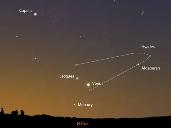 Will you see it? Comet Jacques will pass about 3.5 degrees north of brilliant Venus tomorrow morning July 13. This map shows the sky facing northeast about 1 hour before sunrise. Stellarium