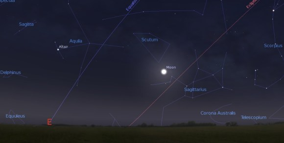 Moon rise on the evening of July 11th, 2014 as seen from latitude 30 degrees north. Credit: Stellarium.