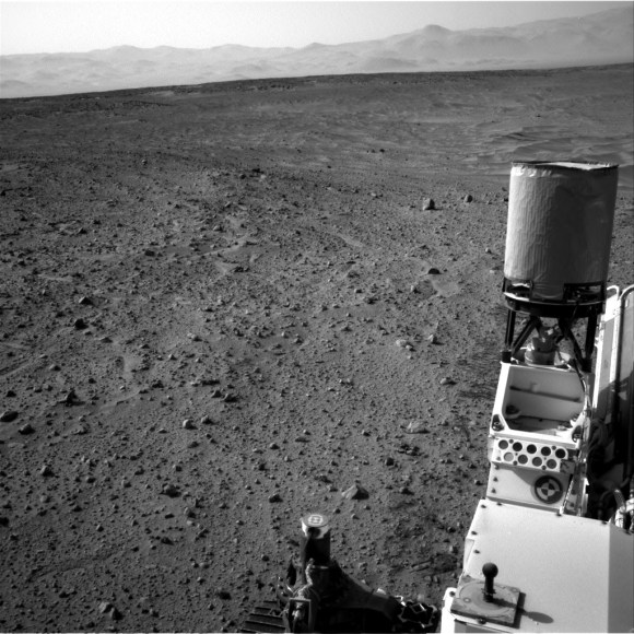An image of distant mountains taken by Curiosity's navcam on July 11, 2014, Sol 685 of the mission. The rover is in Gale Crater (near the equator of Mars) making a trek to Mount Sharp (the unofficial name for Aeolis Mons). Credit: NASA/JPL-Caltech