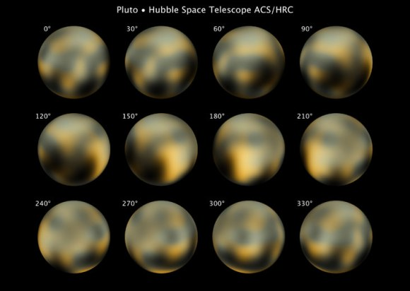 Pluto's surface as viewed from the Hubble Space Telescope in several pictures taken in 2002 and 2003. Though the telescope is a powerful tool, the dwarf planet is so small that it is difficult to resolve its surface. Astronomers noted a bright spot (180 degrees) with an unusual abundance of carbon monoxide frost. Credit: NASA