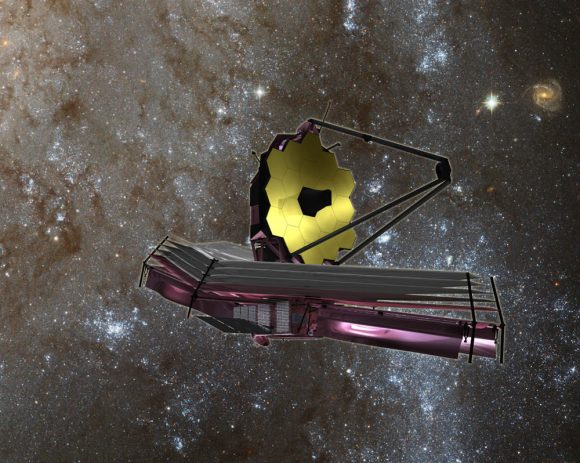 Artist's concept of the James Webb Space Telescope (JWST) with Sunshield at bottom.  Credit: NASA/ESA
