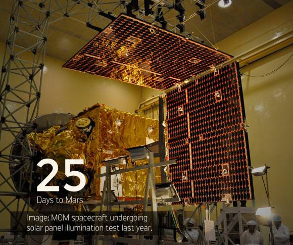 25 Days to Mars Orbit Insertion engine firing for ISRO's Mars Orbiter Mission (MOM) on Sept. 24, 2014. Prelaunch images show MOM undergoing solar panel illumination tests during 2013 prior to launch.  Cr