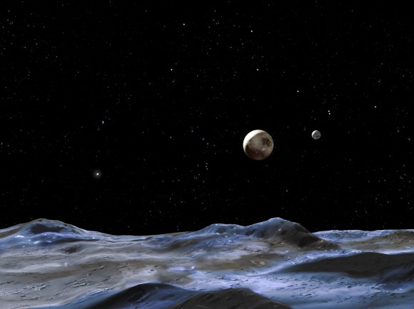 Artist's conception of the Pluto system from the surface of one of its moons. Credit: NASA, ESA and G. Bacon (STScI)