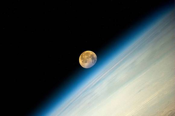 "The ""super moon"" of August 2014 captured by Expedition 40's Oleg Artemyev on the International Space Station."
