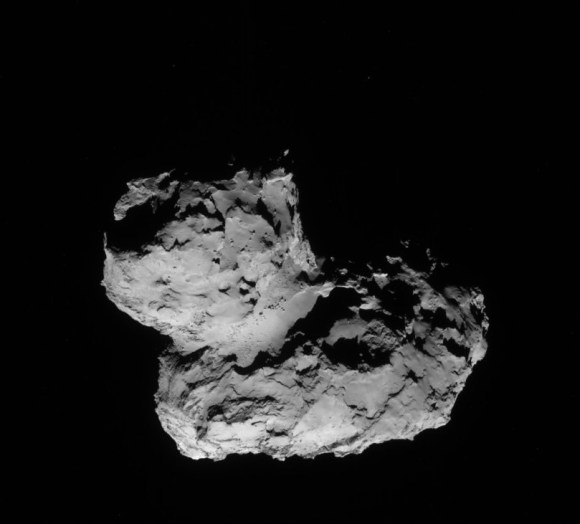 A view of the nucleus of Comet 67P/Churyumov–Gerasimenko taken by the Rosetta spacecraft Aug. 11, 2014. Credit: ESA/Rosetta/NAVCAM