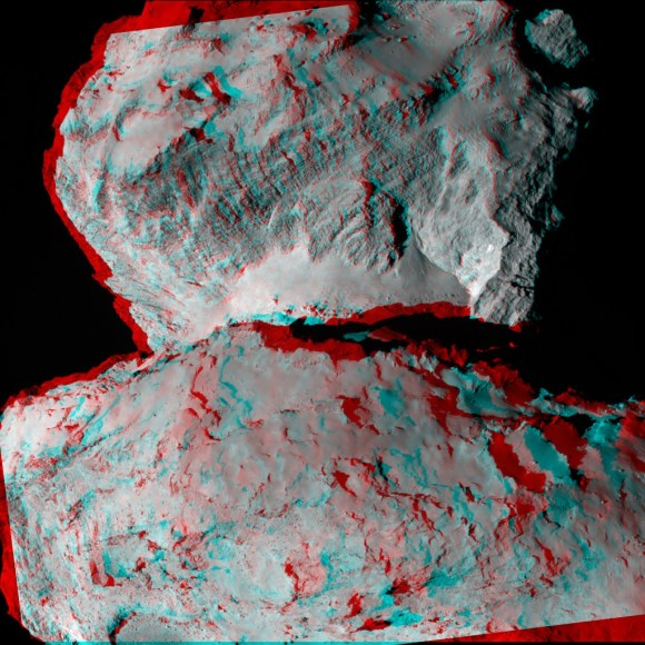 A 3-D image from the Rosetta spacecraft showing Comet 67P/Churyumov-Gerasimenko and its boulder-strewn 'neck' region. Also visible is an exposed cliff face and numerous crater-like depressions. Credit: ESA/Rosetta/MPS for OSIRIS Team MPS/UPD/LAM/IAA/SSO/INTA/UPM/DASP/IDA.