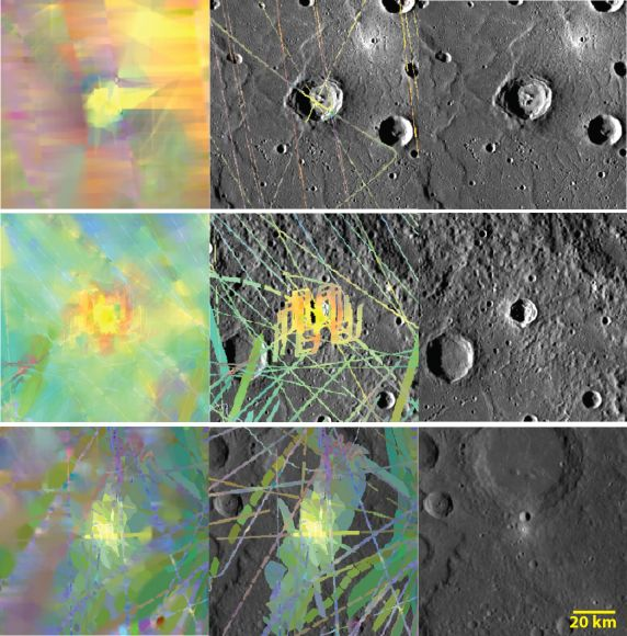 Images of the surface of Mercury taken by the MESSENGER (MErcury Surface, Space ENvironment, GEochemistry, and Ranging) spacecraft. Some are in visual wavelengths and some are in other wavelengths. Yellow areas are considered to be younger spots. Credit: NASA/Johns Hopkins University Applied Physics Laboratory/Carnegie Institution of Washington