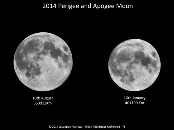 A comparison the between two 'extreme' full Moons of 2014:  the perigee Full Moon of August 10th, and the apogee full Moon of January 16. As