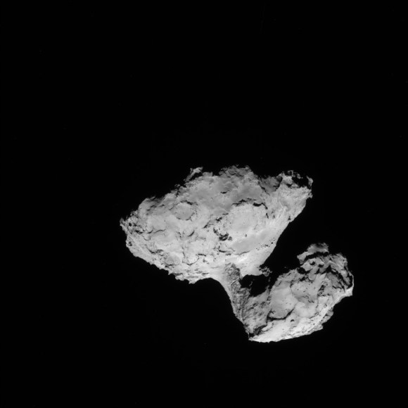 A view of Comet 67P/Churyumov-Gerasimenko taken by the Rosetta spacecraft on Aug. 9, 2014. Credit: ESA/Rosetta/NAVCAM