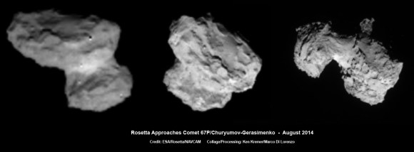 ESA's Rosetta Spacecraft on final approach to Comet 67P/Churyumov-Gerasimenko in early August 2014. This collage of navcam imagery from Rosetta was taken on Aug. 1, 2 and 3 from distances of 1026 km, 500 km and 300 km. Not to scale.  Credit: ESA/Rosetta/NAVCAM   Collage/Processing: Ken Kremer/Marco Di Lorenzo