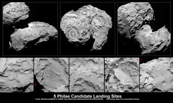 Five candidate sites were identified on Comet 67P/Churyumov-Gerasimenko for Rosetta's Philae lander.   The approximate locations the five regions are marked on these OSIRIS narrow-angle camera images taken on 16 August 2014 from a distance of about 100 km. Enlarged insets below highlight 5 landing zones.  Credits: ESA/Rosetta/MPS for OSIRIS Team MPS/UPD/LAM/IAA/SSO/INTA/UPM/DASP/IDA  Processing: Marco Di Lorenzo/Ken Kremer