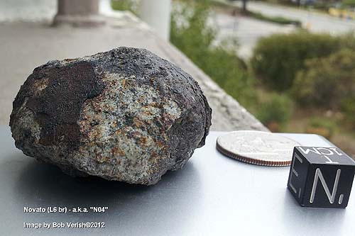Novato N04, found by Bob Verish. The fourth of 6 fragments of the Novato fireball recovered. (Image Credit, B. Verish)