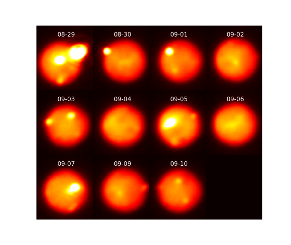 Images of Io taken in the near-infrared with adaptive optics at the Gemini North telescope tracking the evolution of the eruption as it decreased in intensity over 12 days. Due to Io's rapid rotation, a different area of the surface is viewed on each night; the outburst is visible with dimin