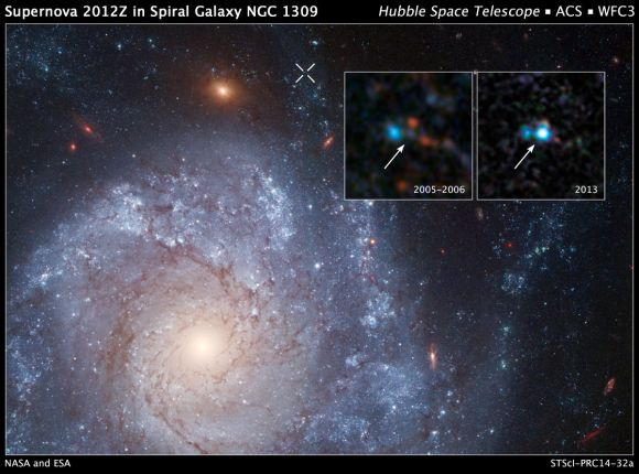The white X at the top of the image marks the location of the supernova. The inset panel is a pair of Hubble Space Telescope images of the spiral galaxy NGC 1309 that were taken before and after the appearance of Supernova 2012Z. Credit: NASA, ESA, C. McCully and S. Jha (Rutgers University), R. Foley (University of Illinois), and Z. Levay (STScI)