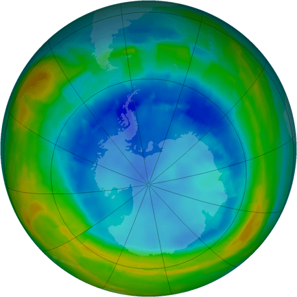 The ozone hole over Antarctica on Aug. 18, 2014. Purple