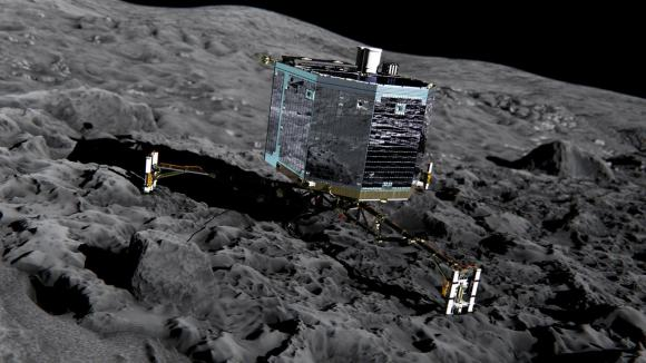 Illustration of Philae on a cometary surface. The actual surface of 67P/Churyumov-Gerasimenko is actually as dark as a barbecue briquette. (Credit: ESA)