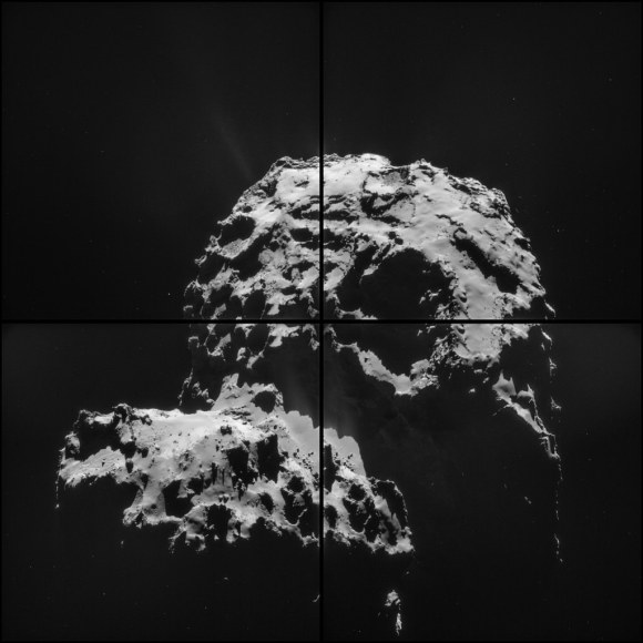 Four images of Comet 67P/Churyumov–Gerasimenko taken on Nov. 30, 2014 by the orbiting Rosetta spacecraft. Credit: ESA/Rosetta/NAVCAM – CC BY-SA IGO 3.0
