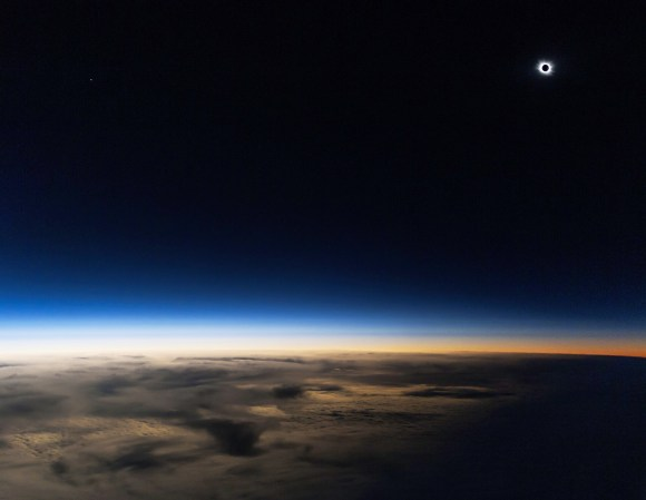The solar eclipse on Friday, March 20, 2015, photographed at 14,000 meters. Credit and copyright: Guillaume Cannat.