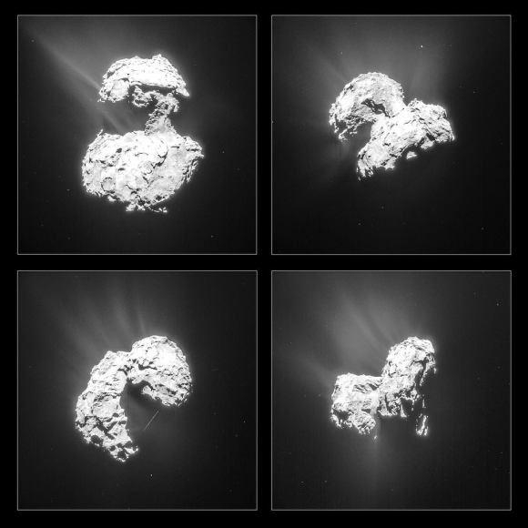 Montage of four single-frame images of Comet 67P/C-G taken by Rosetta's Navigation Camera (NAVCAM) at the end of February 2015. The images were taken on 25 February (top left), 26 February (top right) and on two occasions on 27 February (bottom left and right). Exposure times are 2 seconds each and the images have been processed to bring out the details of the comet's many jets. Credits: ESA/Rosetta/NAVCAM – CC BY-SA IGO 3.0