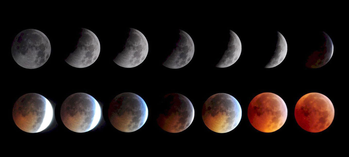 The phases of a total lunar eclipse. Saturday's eclipse will see the ...