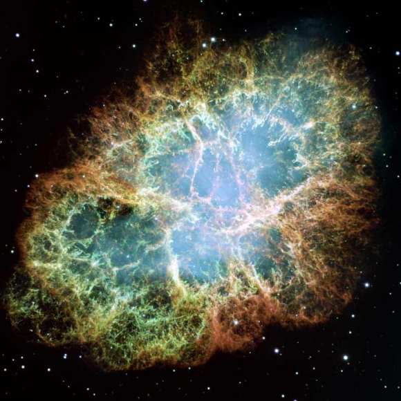 Hubble image of the Crab Nebula supernova remnant captured with the Wide Field and Planetary Camera 2. Credit: NASA, ESA, J. Hester and A. Loll (Arizona State University)