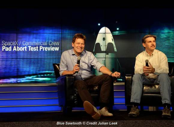 Hans Koenigsmann, vice president of Mission Assurance at SpaceX with Jon Cowart, NASA's CCP partner manager address the press during May 1, 2015  briefing on the Pad Abort Test of SpaceX's Dragon V2 crewed spacecraft.  Credit: Julian Leek