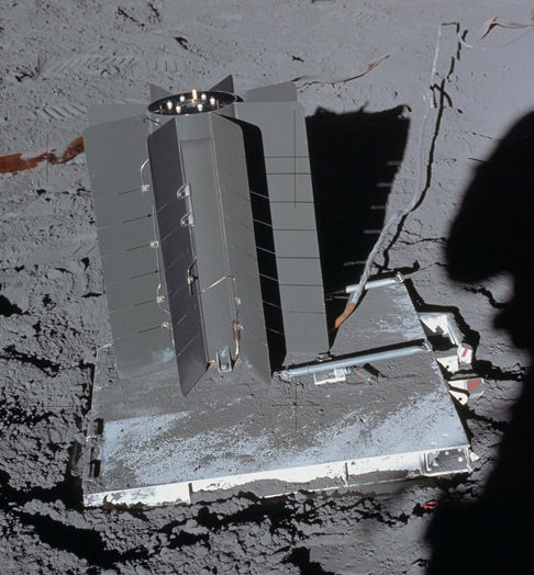Apollo astronaut photo of a SNAP-27 RTG on the Moon. Credit: NASA.