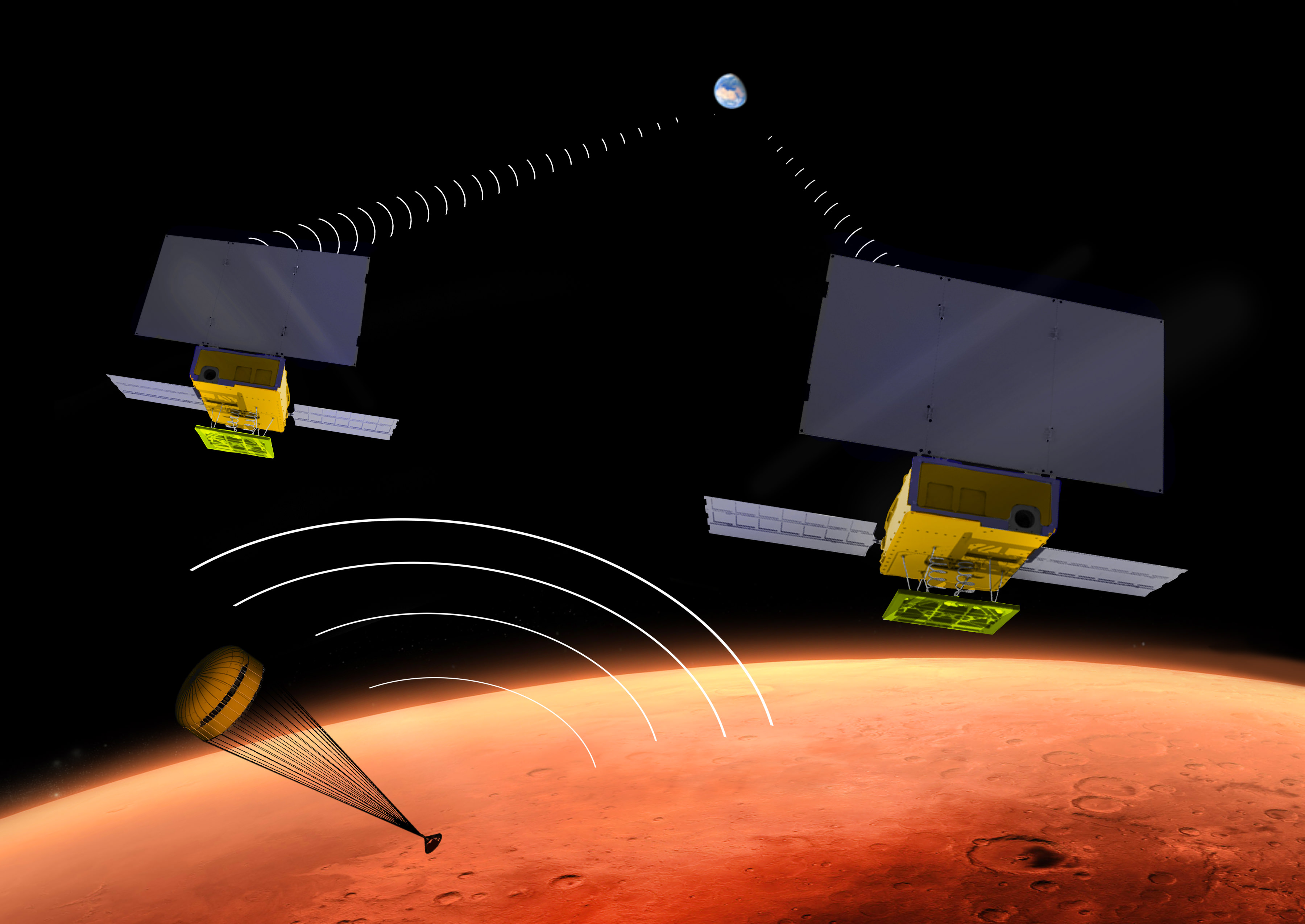 NASA's two small MarCO CubeSats will be flying past Mars in 2016 just as NASA's next Mars lander, InSight, is descending to land on the surface. MarCO, for Mars Cube One, will provide an experimental communications relay to inform Earth quickly about the landing.  Credits: NASA/JPL-Caltech