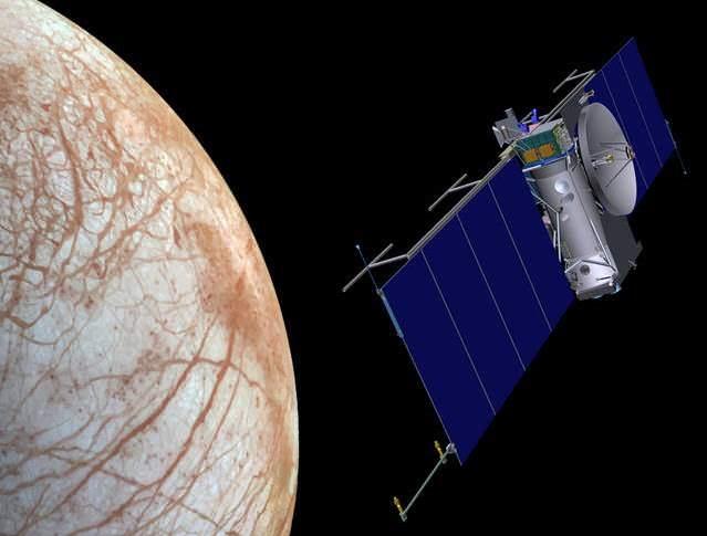 Artist's concept of NASA mission streaking over Europa.  Credit: NASA/JPL