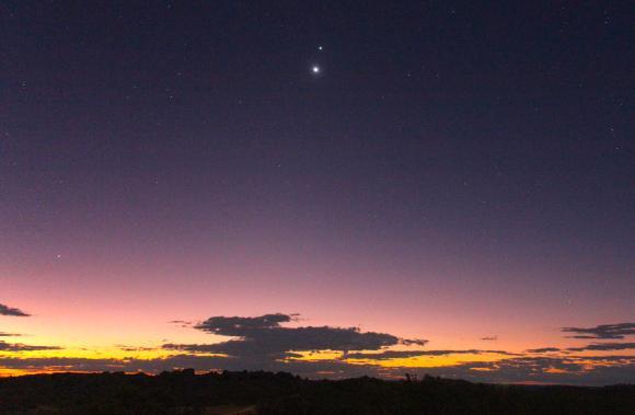 Venus and Jupiter at dusk over Australia's Outback on June 27, 2015.  Credit: Joseph Brimacombe