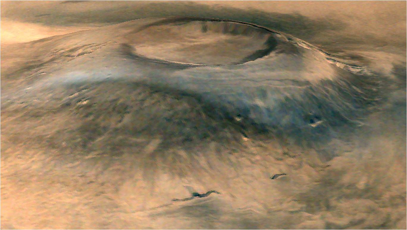 Spectacular 3D view of Arsia Mons, a huge volcano on Mars. Credit: ISRO