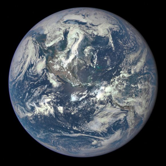 Earth imaged on July 6, 2015 by NOAA's DSCOVR satellite from L1. Credit: NOAA/NASA/GSFC