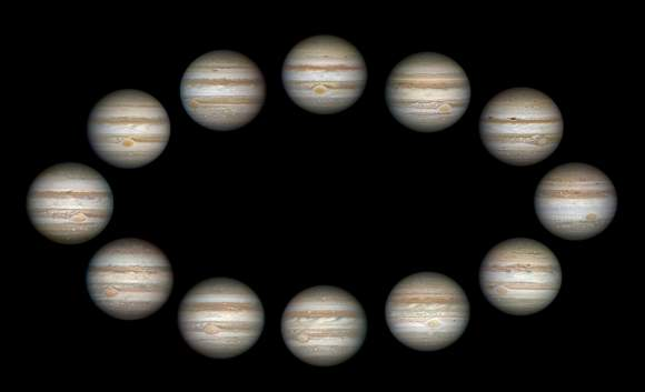 Jupiter takes 12 years to make one trip around the Sun.  These 12 images were taken between 2003 and 2015. At far left we see Jupiter in 2003, and the years proceed counterclockwise. The 2015 view is immediately above 2003. Credit: Damian Peach