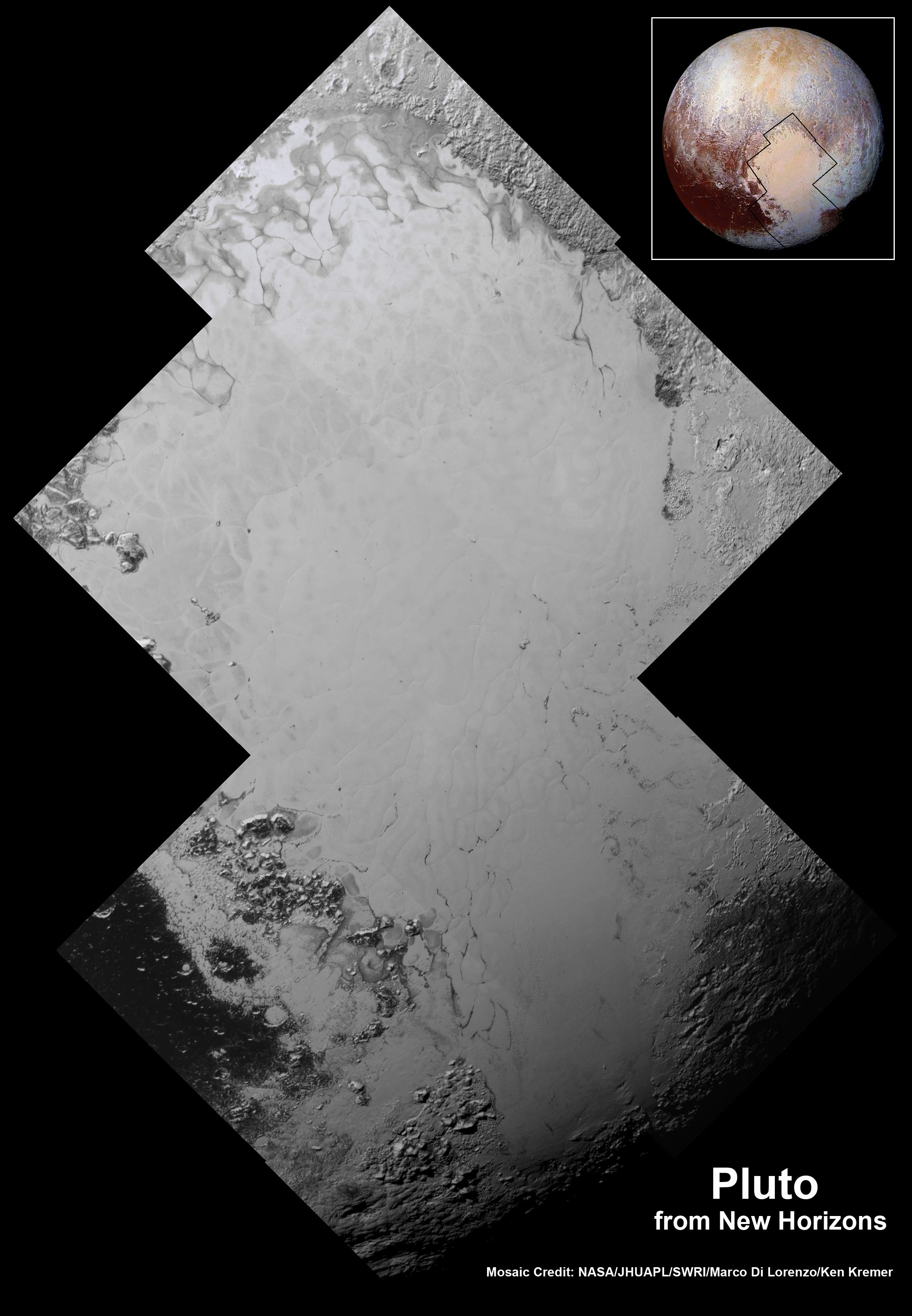 Highest resolution mosaic of 'Tombaugh Regio' shows the heart-shaped region on Pluto focusing on ice flows and plains of 'Sputnik Planum' at top and icy mountain ranges of 'Hillary Montes' and 'Norgay Montes' below.  This new mosaic combines the seven highest resolution images captured by NASA's New Horizons LORRI imager during history making closest approach flyby on July 14, 2015.  Inset at right shows global view of Pluto with location of mosaic and huge heart-shaped region in context.  Credit: NASA/JHUAPL/SWRI/Marco Di Lorenzo/Ken Kremer/kenkremer.com
