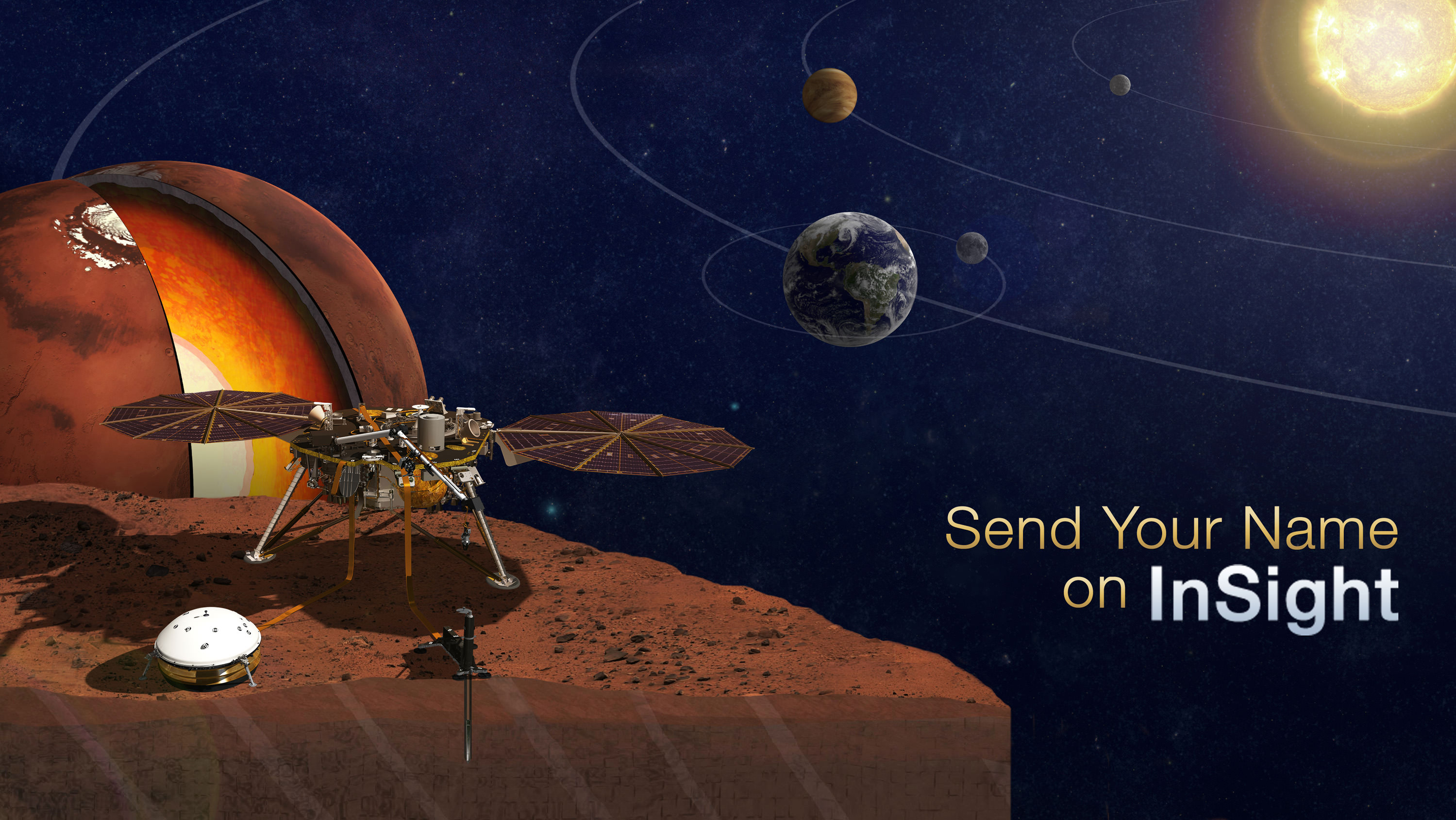 Sign up to send your name to Mars on InSight, NASA's next mission to Mars launching in March 2016.  Credit: NASA