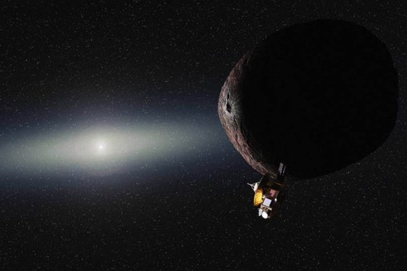 An artist's conception shows the New Horizons spacecraft flying past a Pluto-like object in the Kuiper Belt, the ring of icy material that lies billions of miles away from the sun. (Credit: Alex Parker / NASA / JHUAPL / SwRI)