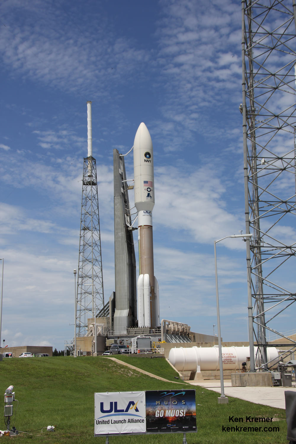 MUOS-4 US Navy communications satellite and United Launch Alliance Atlas V rocket at pad 41 at Cape Canaveral Air Force Station, FL for launch on Sept. 2, 2015 at 5:59 a.m. EDT. Credit: Ken Kremer/kenkremer.com