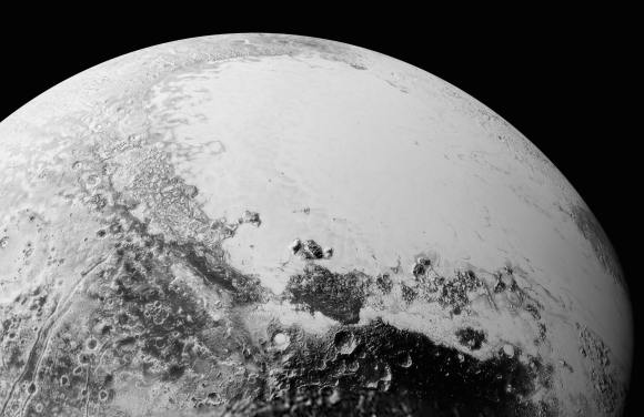 This new mosaic of Pluto is from the  latest high-resolution images sent to Earth from the New Horizons spacecraft  shows what you would see if you were approximately 1,100 miles (1,800 kilometers) above Pluto's equatorial area, looking northeast over the dark, cratered, informally named Cthulhu Regio toward the bright, smooth, expanse of icy plains informally called Sputnik Planum. The entire expanse of terrain seen in this image is 1,100 miles (1,800 kilometers) across. The images were taken as New Horizons flew past Pluto on July 14, 2015, from a distance of 50,000 miles (80,000 kilometers). Credit: NASA/Johns Hopkins University Applied Physics Laboratory/Southwest Research Institute