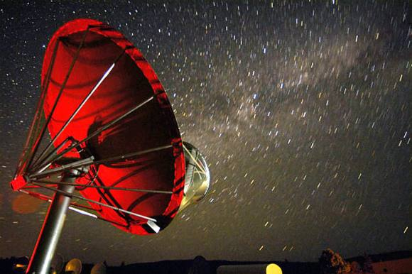One of the 42 dishes in the Allen Telescope Array that remains trained on KIC gathering data that will appear soon in a published paper. Credit: Seth Shostak / SETI Institute