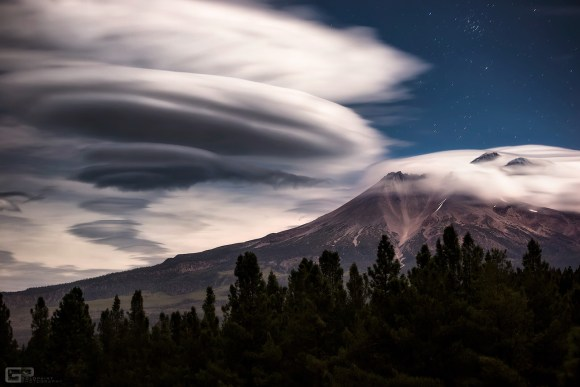 Moonlit lenticular clouds formed over Mount Shasta in northern California in October 2015. Credit and copyright: Brad Goldpaint/Goldpaint Photography.