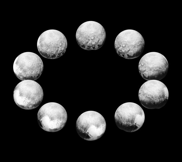 """On approach in July 2015, the cameras on NASA's New Horizons spacecraft captured Pluto rotating over the course of a full """"Pluto day."""" The best available images of each side of Pluto taken during approach have been combined to create this view of a full rotation. Credit: NASA/JHUAPL/SwRI."""