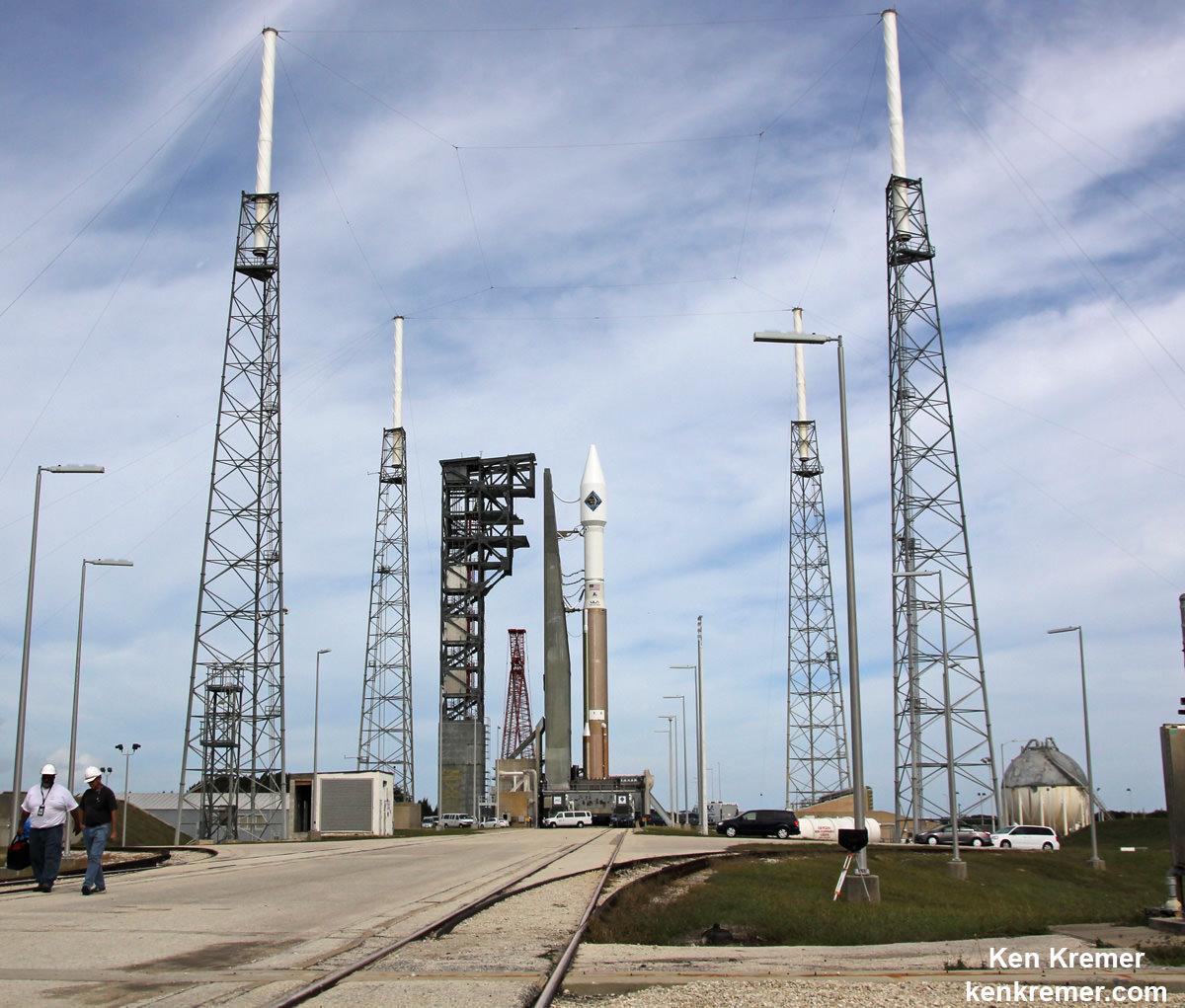 Orbital ATK Cygnus spacecraft poised for blastoff  to ISS on  ULA Atlas V on Dec. 3, 2015 from Cape Canaveral Air Force Station, Florida.  Credit: Ken Kremer/kenkremer.com