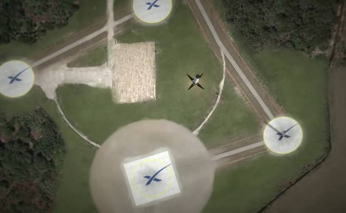 Artist's concept shows SpaceX Falcon 9 first stage descending to Landing Zone 1 complex at  Cape Canaveral Air Force Station, Fla. Credit: SpaceX